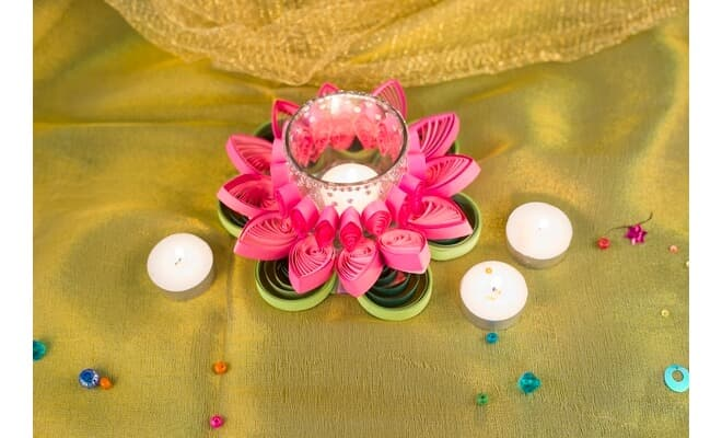 Diya Decoration Idea with Quilled Flowers